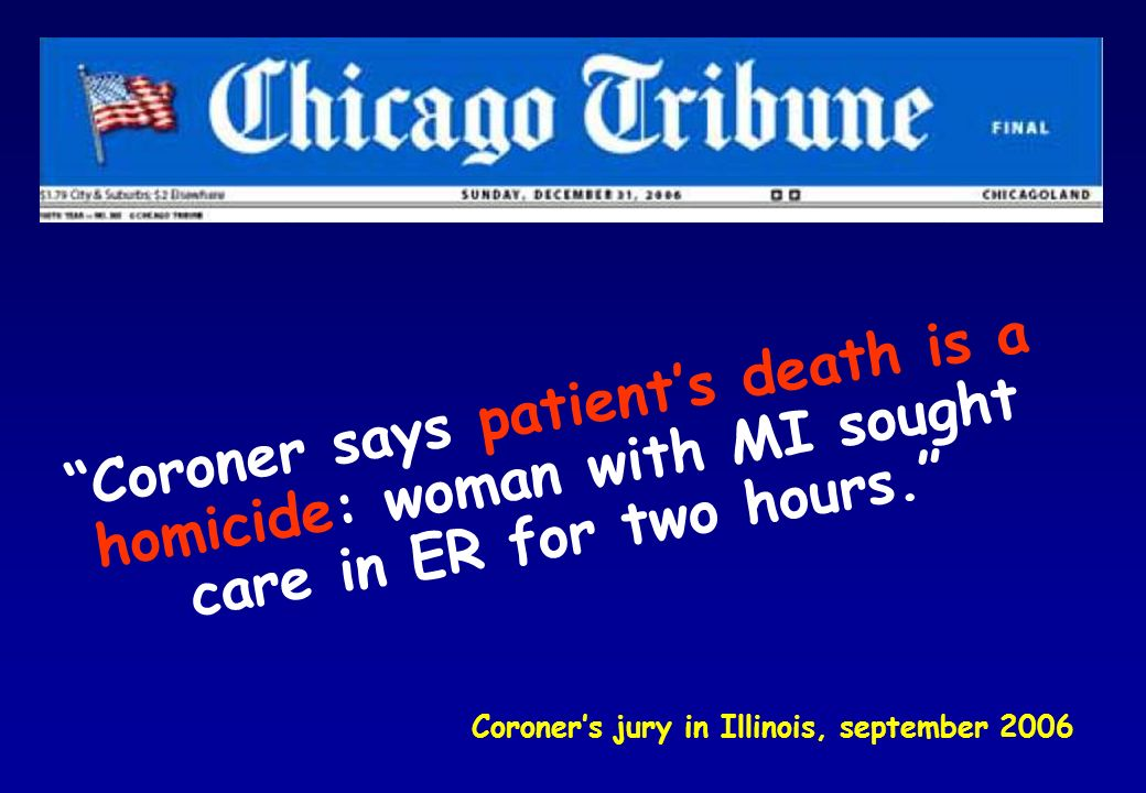 Coroner says patient's death is a homicide: woman with MI sought care in ER for two hours.