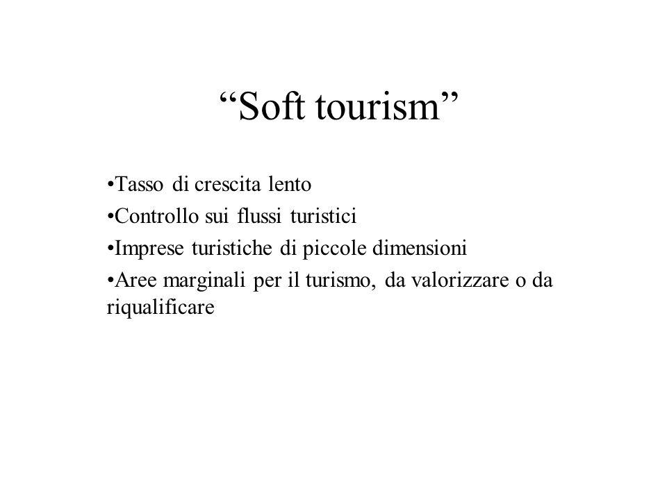Soft tourism Tasso di crescita lento Controllo sui flussi turistici