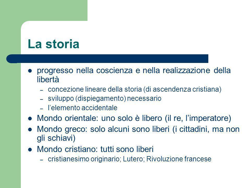 La storia progresso nella coscienza e nella realizzazione della libertà. concezione lineare della storia (di ascendenza cristiana)