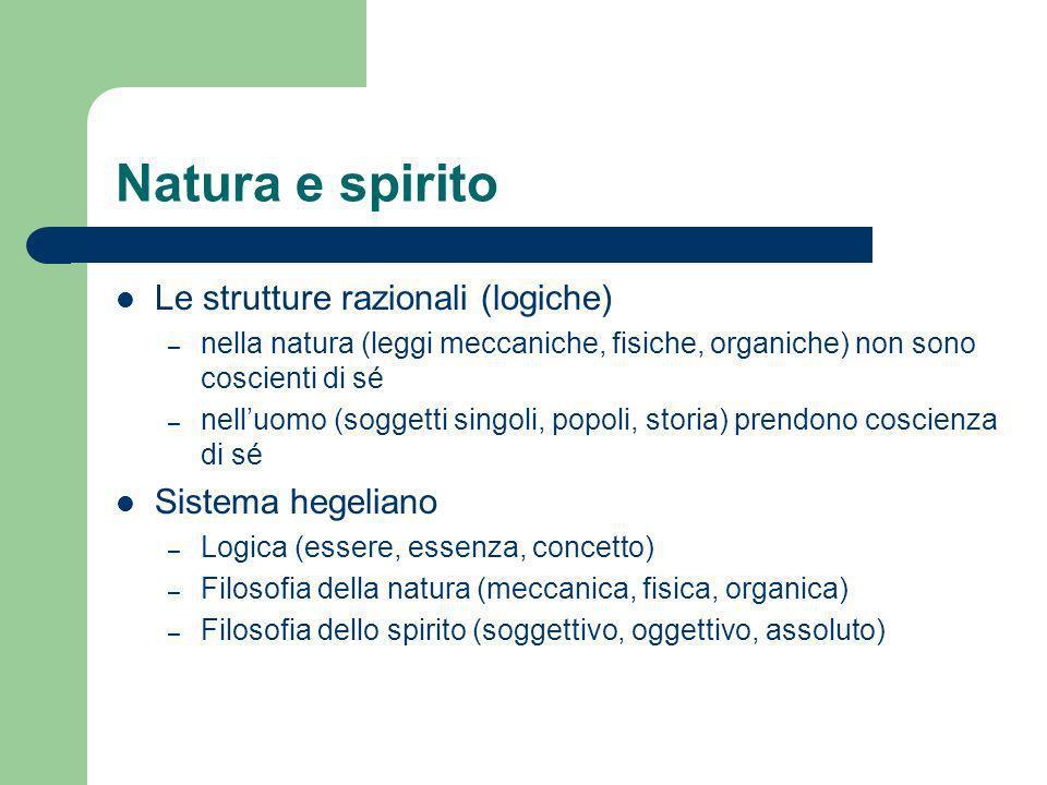 Natura e spirito Le strutture razionali (logiche) Sistema hegeliano