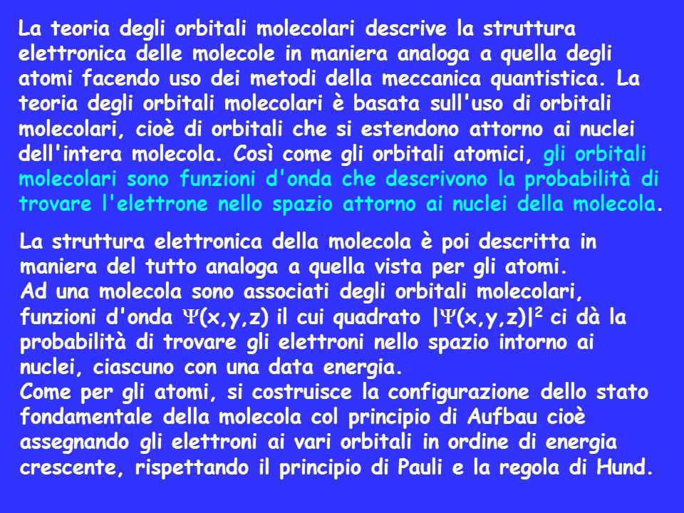 La teoria degli orbitali molecolari descrive la struttura elettronica delle molecole in maniera analoga a quella degli atomi facendo uso dei metodi della meccanica quantistica. La teoria degli orbitali molecolari è basata sull uso di orbitali molecolari, cioè di orbitali che si estendono attorno ai nuclei dell intera molecola. Così come gli orbitali atomici, gli orbitali molecolari sono funzioni d onda che descrivono la probabilità di trovare l elettrone nello spazio attorno ai nuclei della molecola.