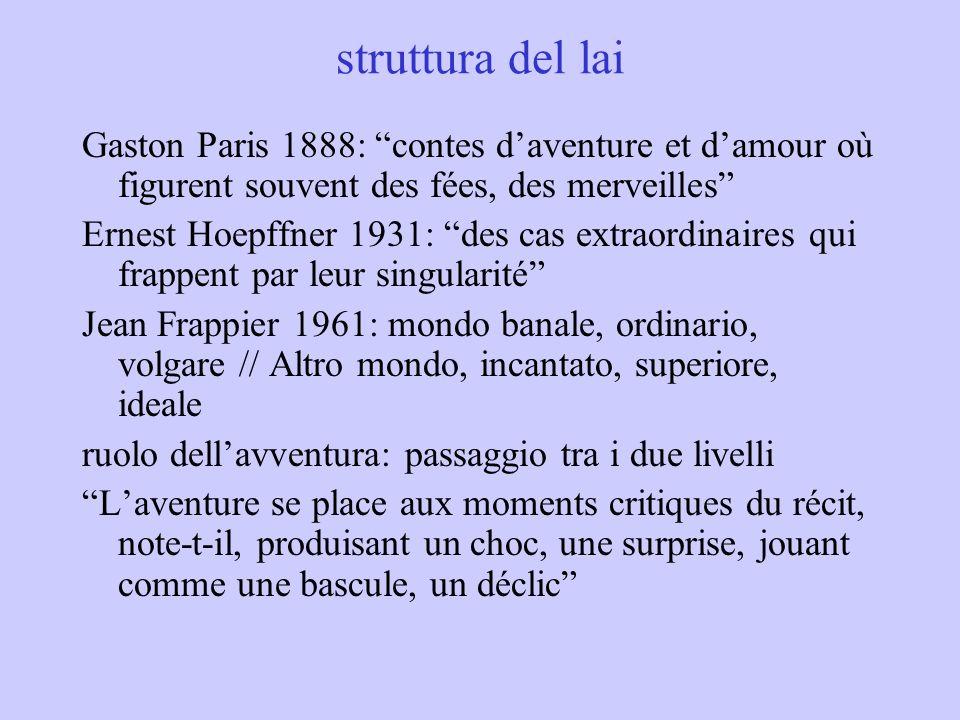 struttura del lai Gaston Paris 1888: contes d'aventure et d'amour où figurent souvent des fées, des merveilles