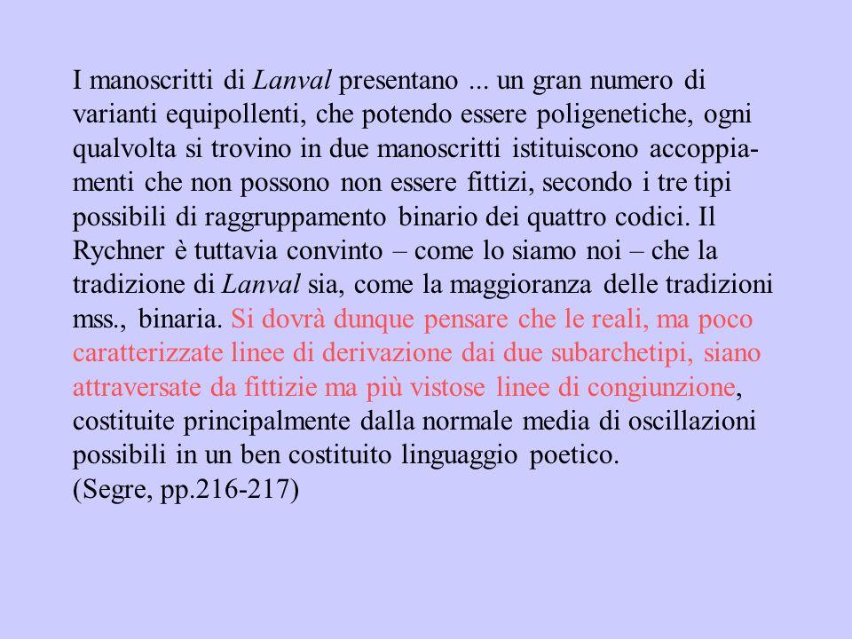 I manoscritti di Lanval presentano ... un gran numero di