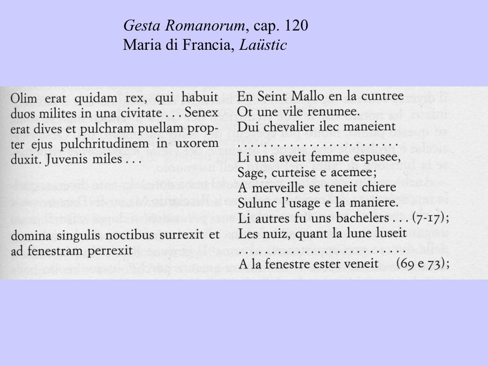 Gesta Romanorum, cap. 120 Maria di Francia, Laüstic