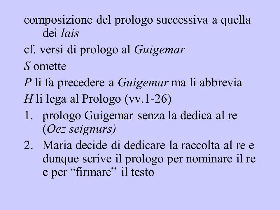 composizione del prologo successiva a quella dei lais