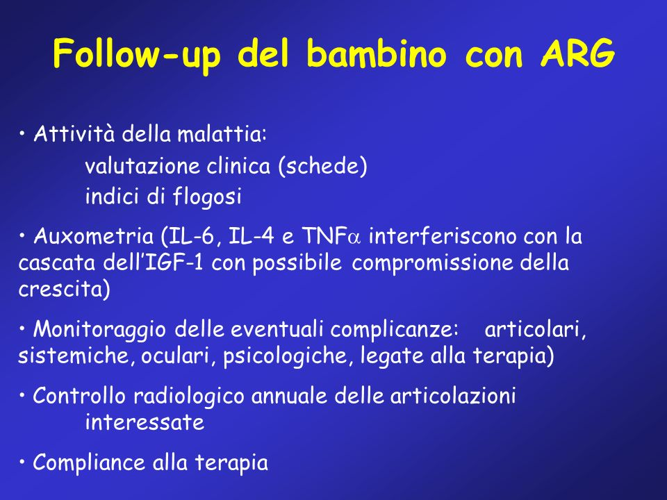 Follow-up del bambino con ARG