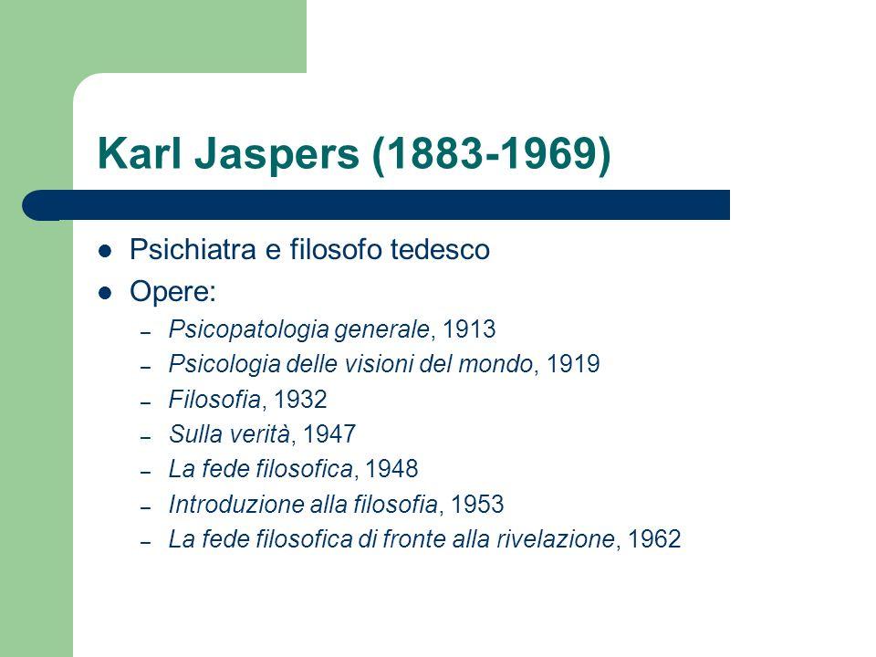 Karl Jaspers (1883-1969) Psichiatra e filosofo tedesco Opere: