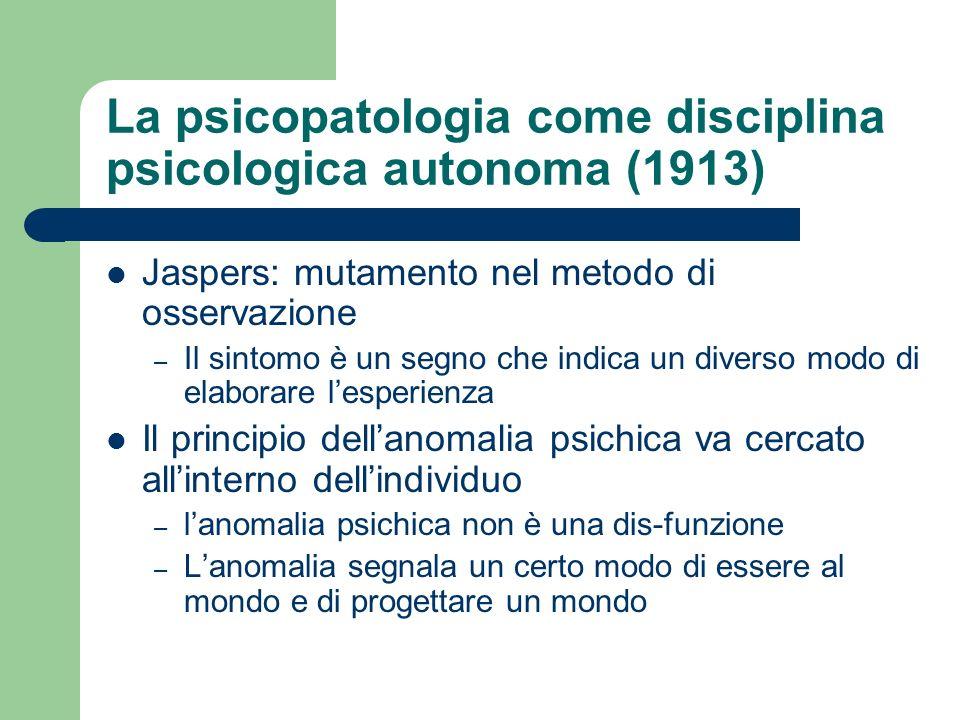 La psicopatologia come disciplina psicologica autonoma (1913)