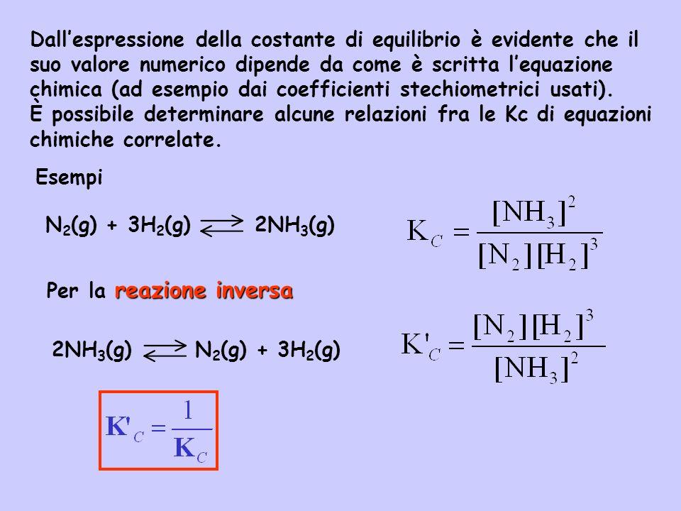 Dall'espressione della costante di equilibrio è evidente che il suo valore numerico dipende da come è scritta l'equazione chimica (ad esempio dai coefficienti stechiometrici usati).