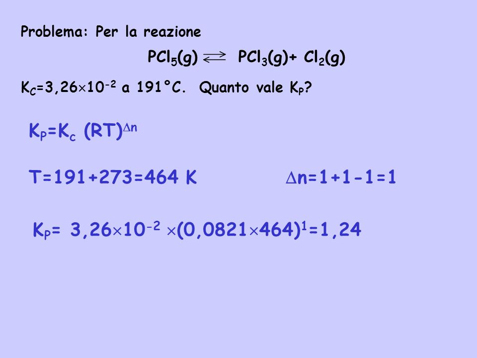 KP=Kc (RT)n T=191+273=464 K n=1+1-1=1