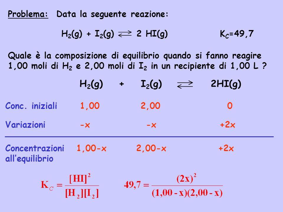H2(g) + I2(g) 2HI(g) Problema: Data la seguente reazione: