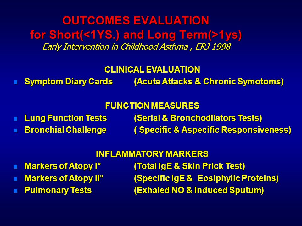 OUTCOMES EVALUATION for Short(<1YS