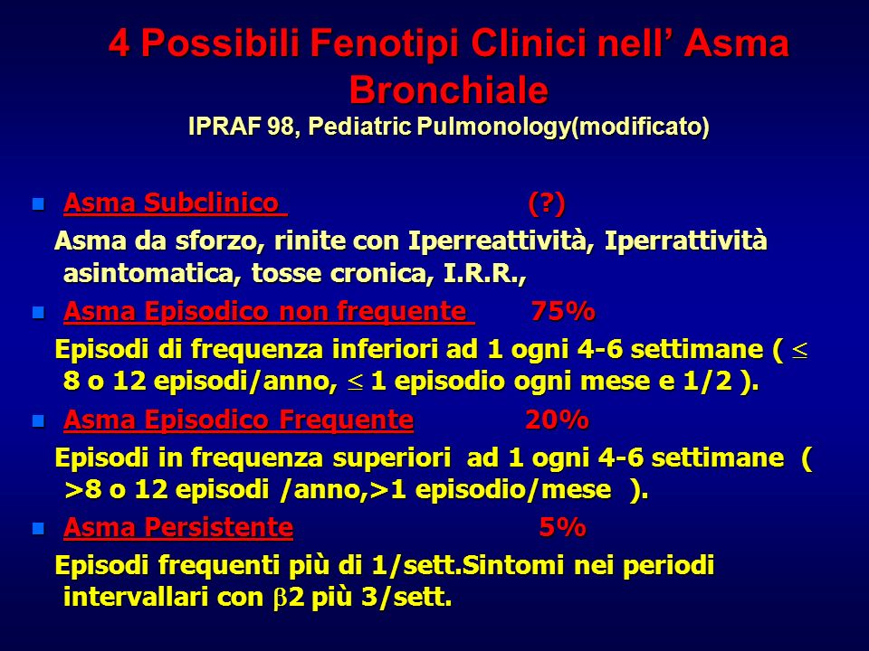 4 Possibili Fenotipi Clinici nell' Asma Bronchiale IPRAF 98, Pediatric Pulmonology(modificato)