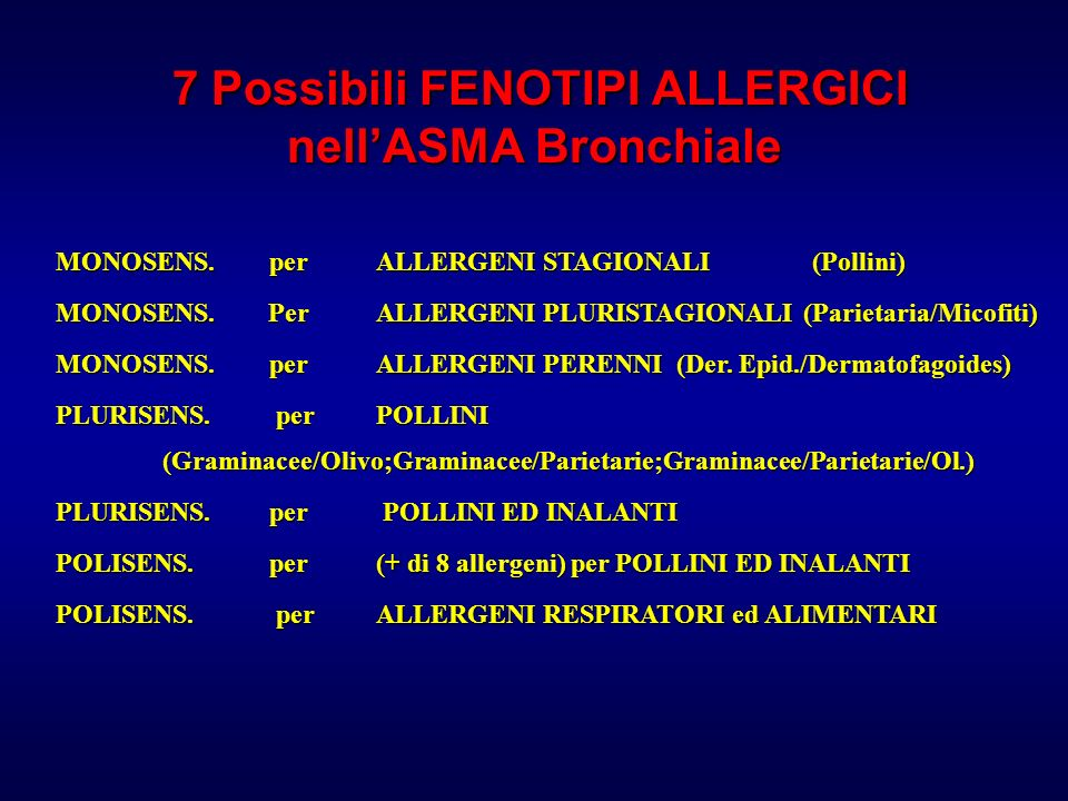 7 Possibili FENOTIPI ALLERGICI nell'ASMA Bronchiale