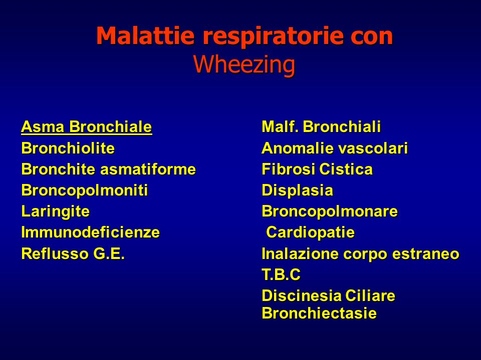 Malattie respiratorie con Wheezing