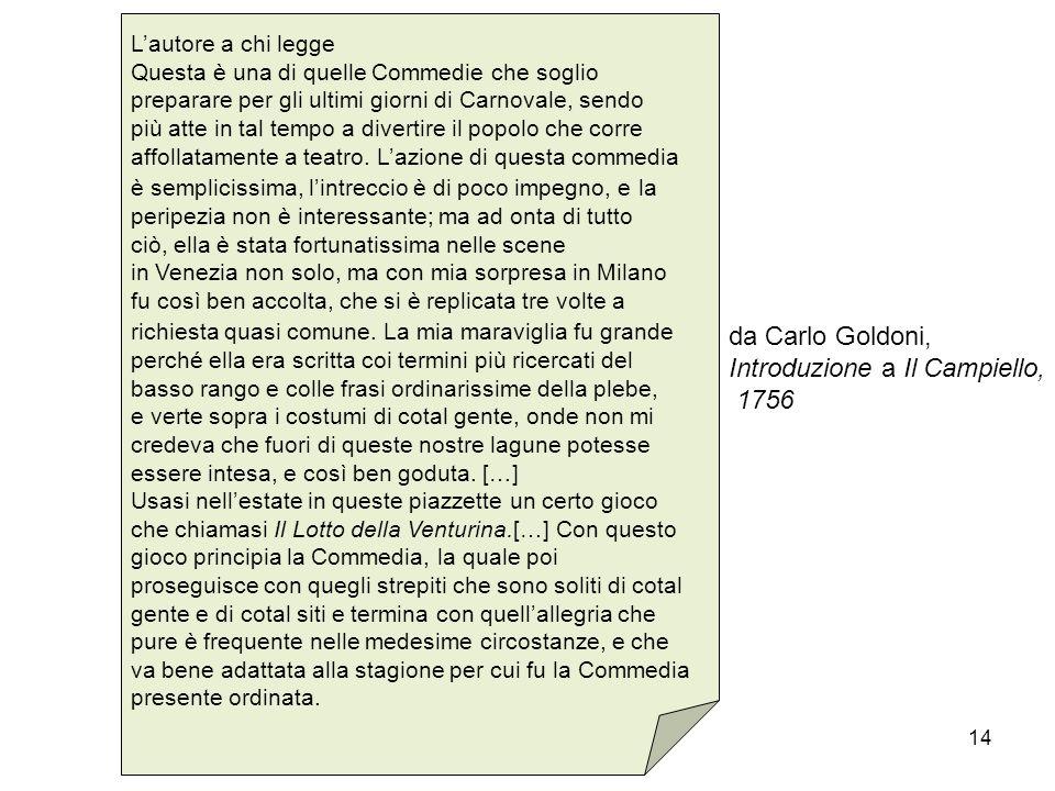 Introduzione a Il Campiello, 1756