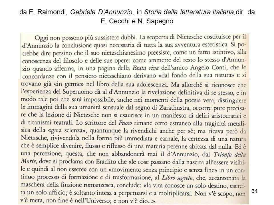 da E.Raimondi, Gabriele D'Annunzio, in Storia della letteratura italiana,dir.