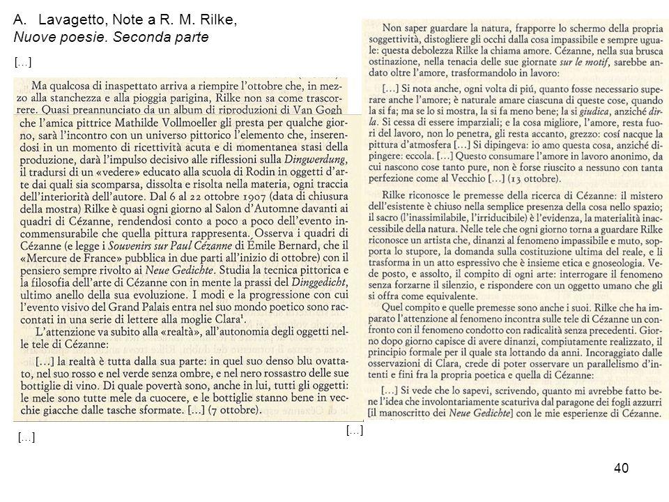 Lavagetto, Note a R. M. Rilke, Nuove poesie. Seconda parte
