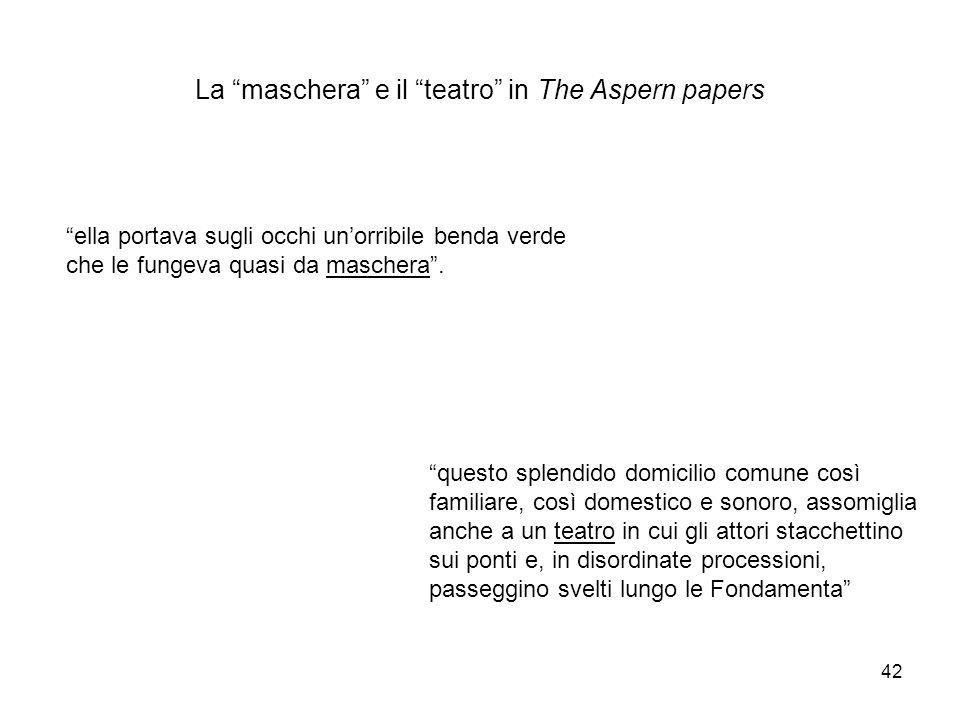 La maschera e il teatro in The Aspern papers