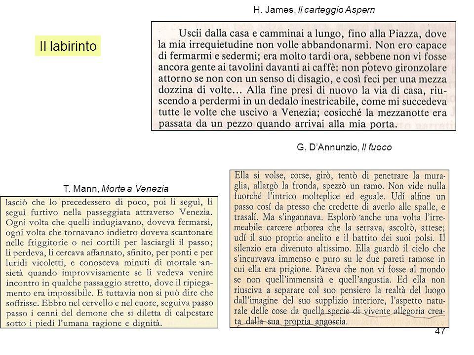 Il labirinto H. James, Il carteggio Aspern G. D'Annunzio, Il fuoco