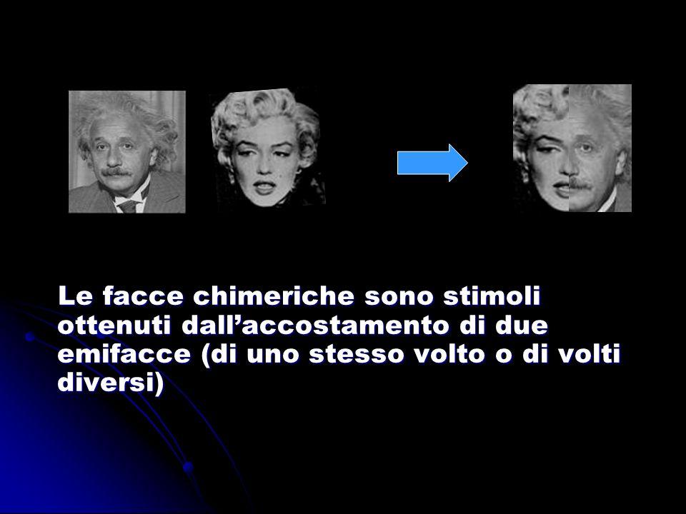 Le facce chimeriche sono stimoli ottenuti dall'accostamento di due emifacce (di uno stesso volto o di volti diversi)