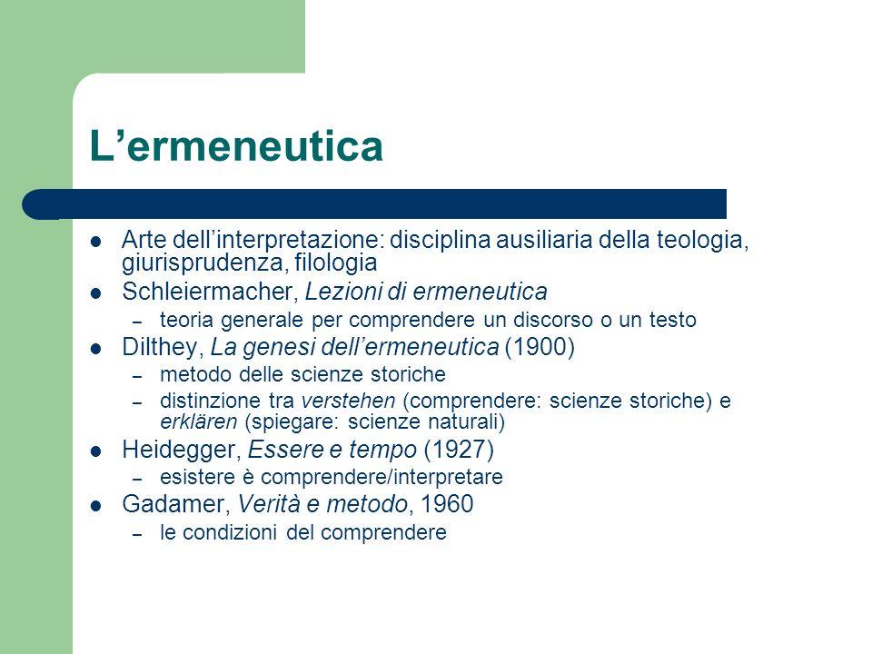 L'ermeneutica Arte dell'interpretazione: disciplina ausiliaria della teologia, giurisprudenza, filologia.
