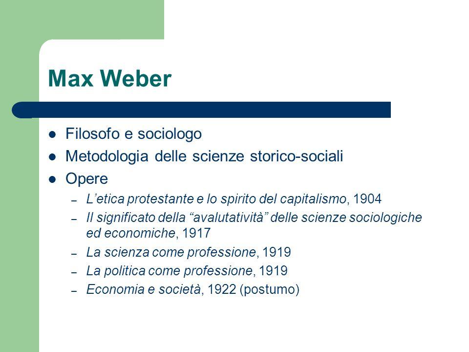 Max Weber Filosofo e sociologo