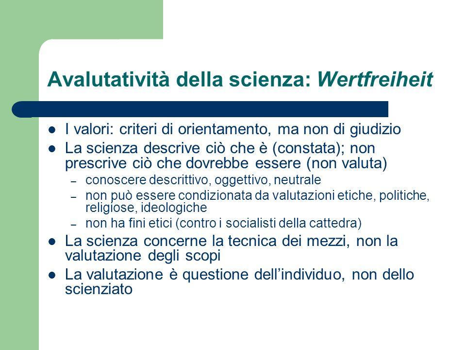 Avalutatività della scienza: Wertfreiheit