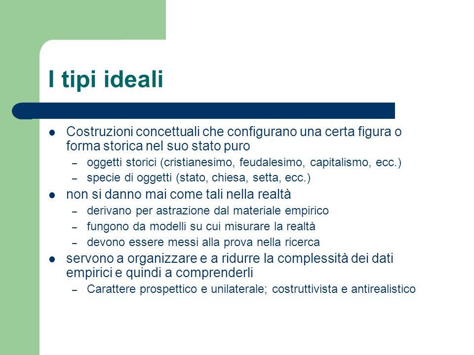 I tipi ideali Costruzioni concettuali che configurano una certa figura o forma storica nel suo stato puro.