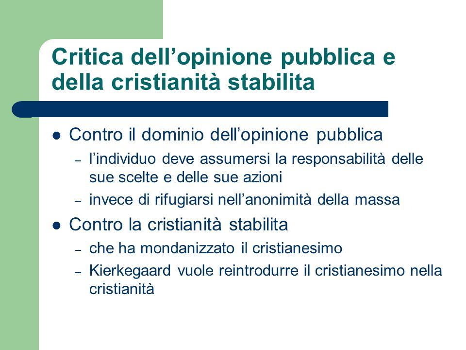 Critica dell'opinione pubblica e della cristianità stabilita