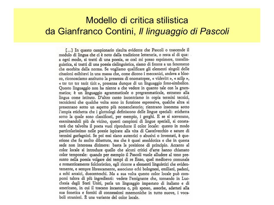 Modello di critica stilistica da Gianfranco Contini, Il linguaggio di Pascoli