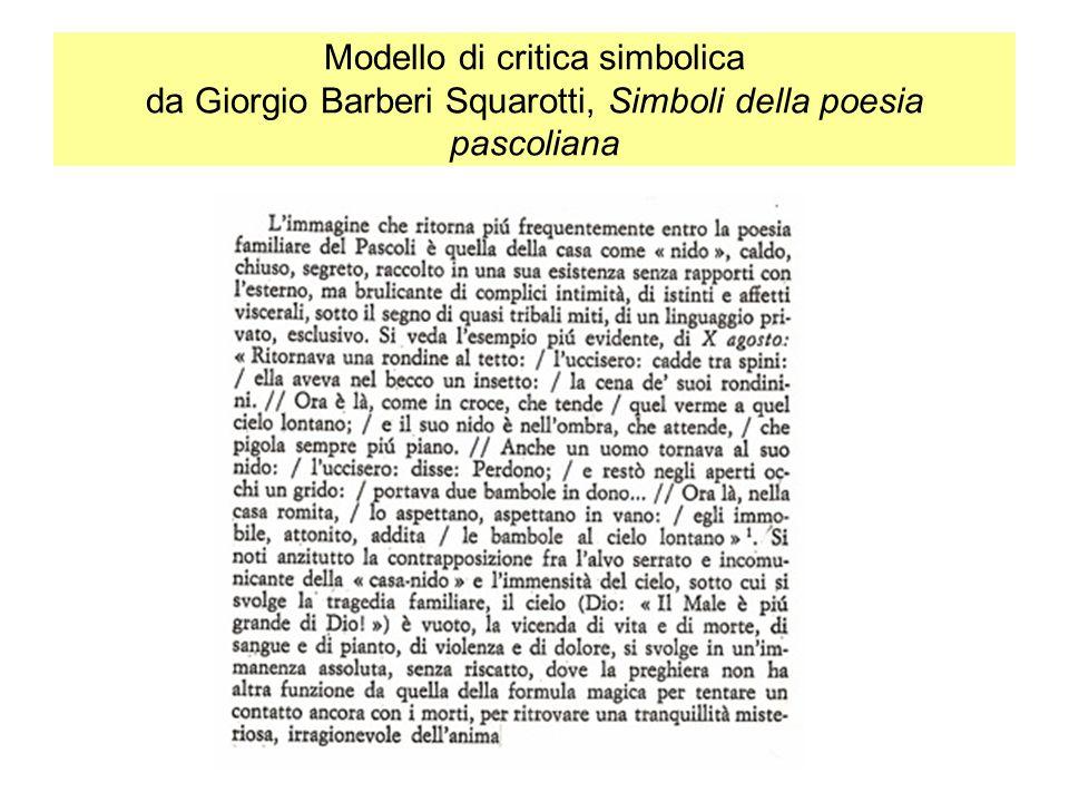 Modello di critica simbolica da Giorgio Barberi Squarotti, Simboli della poesia pascoliana