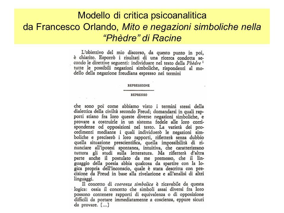 Modello di critica psicoanalitica da Francesco Orlando, Mito e negazioni simboliche nella Phèdre di Racine