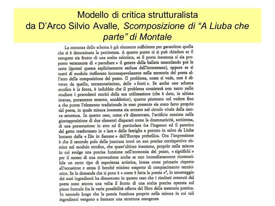 Modello di critica strutturalista da D'Arco Silvio Avalle, Scomposizione di A Liuba che parte di Montale