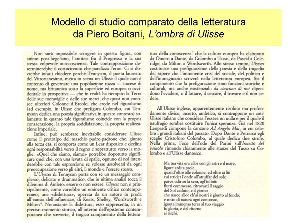 Modello di studio comparato della letteratura da Piero Boitani, L'ombra di Ulisse