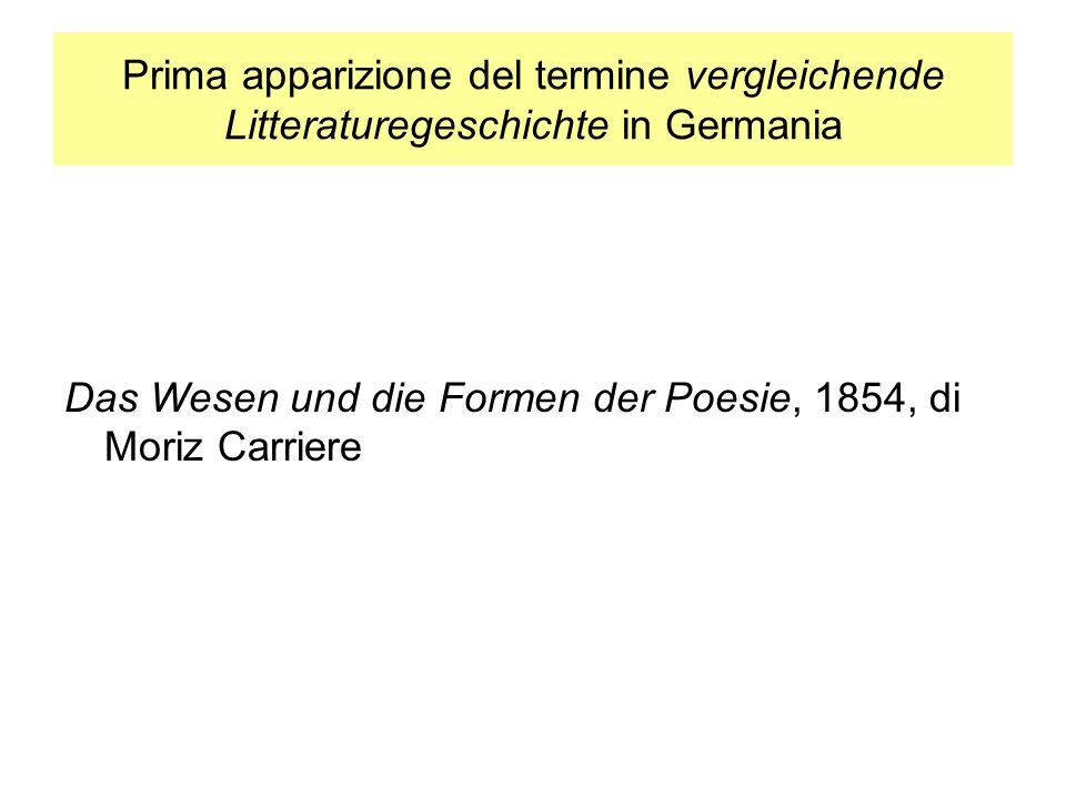 Prima apparizione del termine vergleichende Litteraturegeschichte in Germania