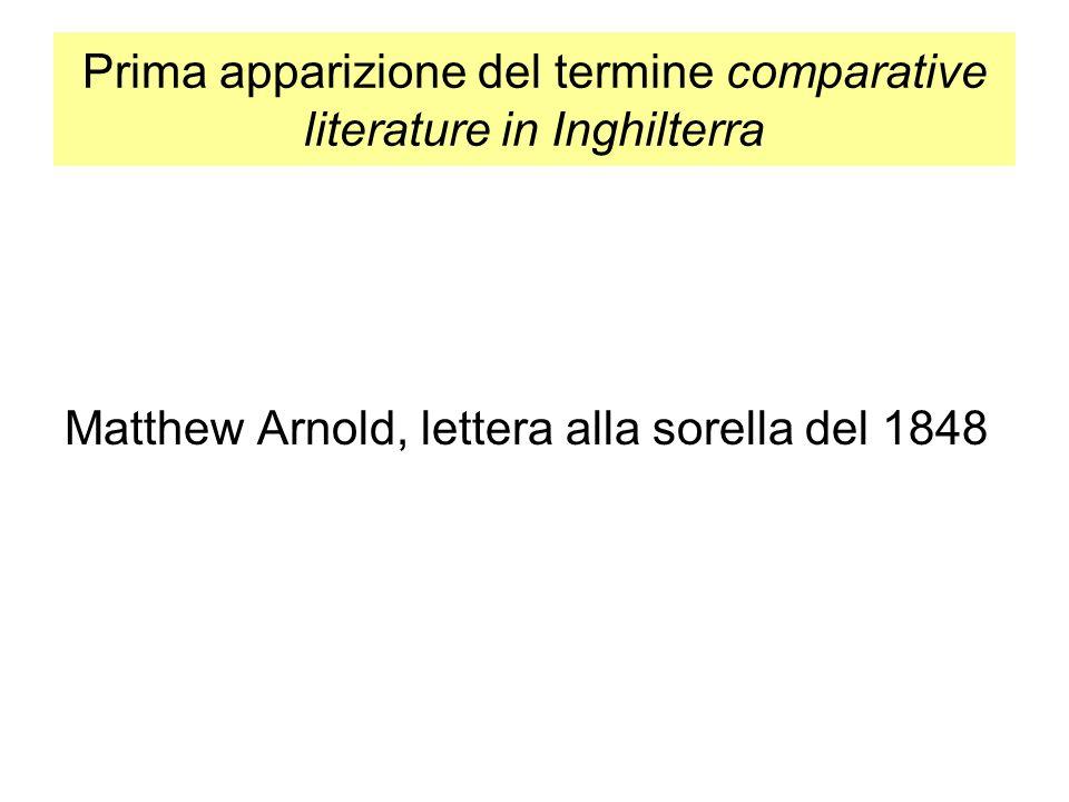 Prima apparizione del termine comparative literature in Inghilterra