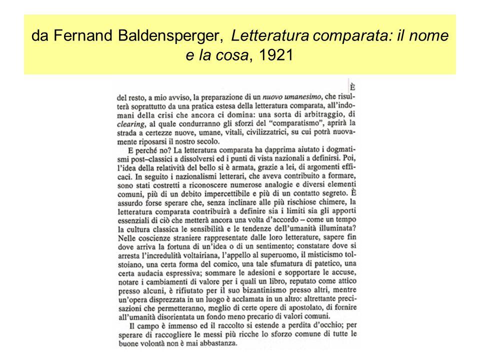 da Fernand Baldensperger, Letteratura comparata: il nome e la cosa, 1921