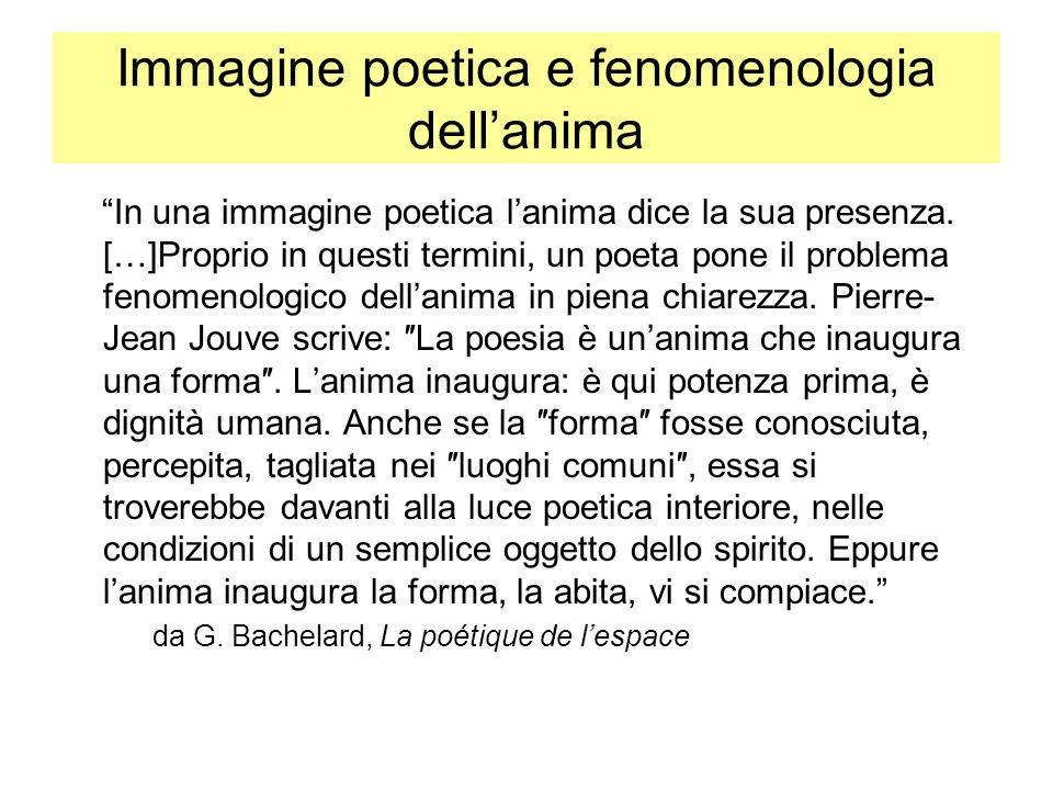 Immagine poetica e fenomenologia dell'anima