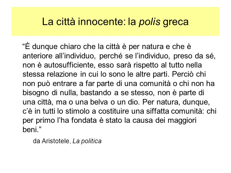 La città innocente: la polis greca