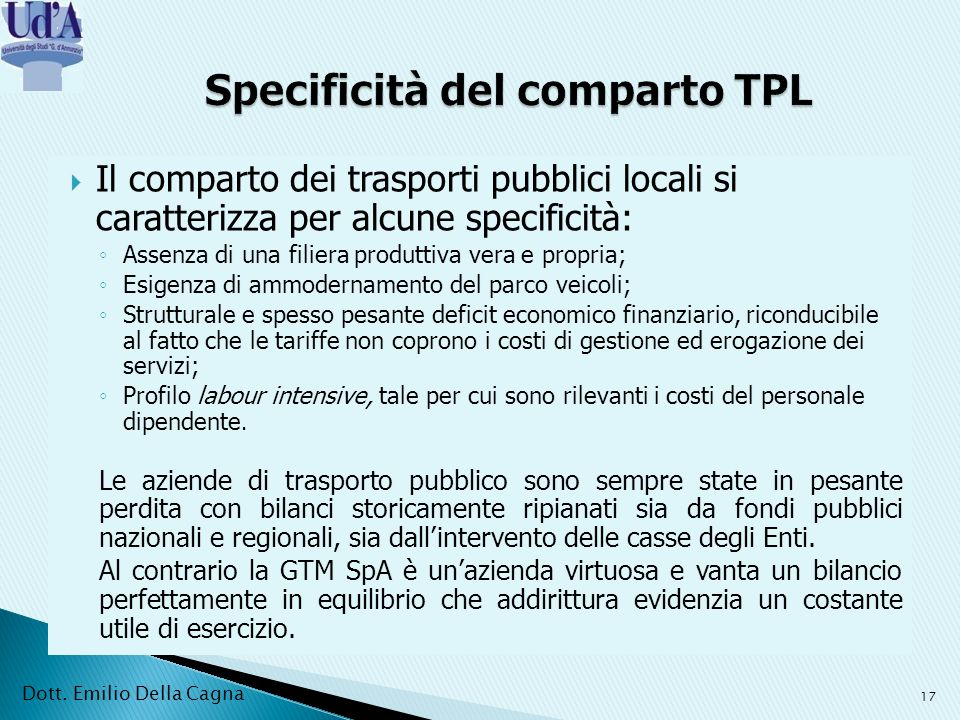 Specificità del comparto TPL
