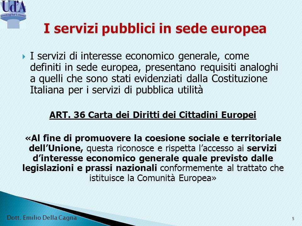 I servizi pubblici in sede europea