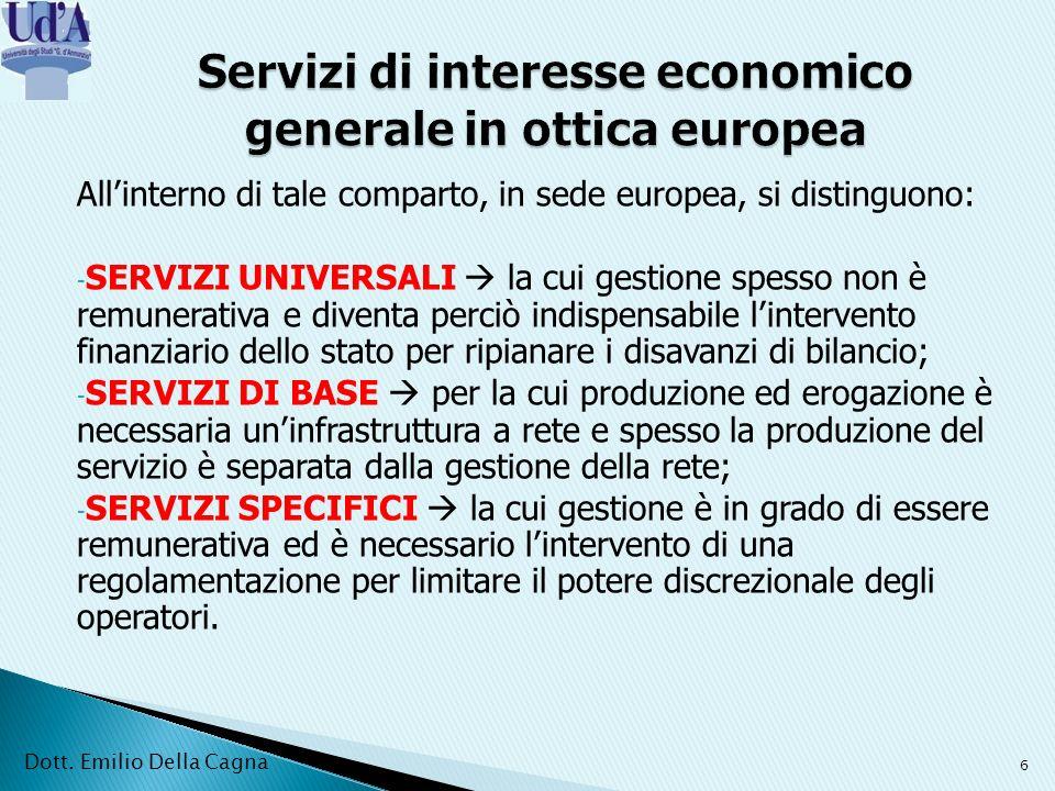 Servizi di interesse economico generale in ottica europea