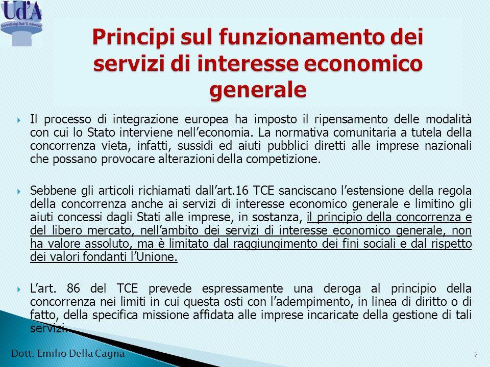 Principi sul funzionamento dei servizi di interesse economico generale