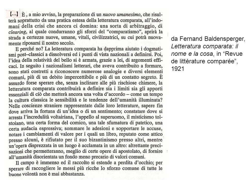 da Fernand Baldensperger, Letteratura comparata: il