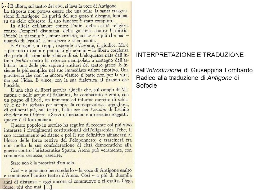 INTERPRETAZIONE E TRADUZIONE dall'Introduzione di Giuseppina Lombardo