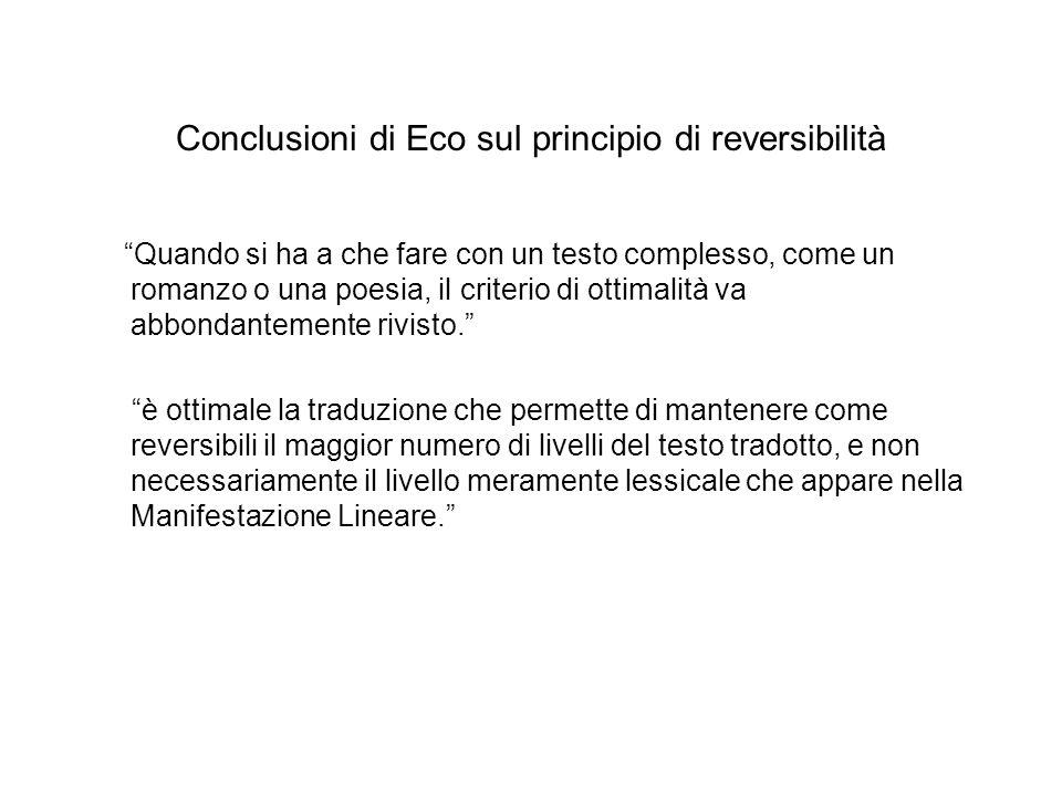 Conclusioni di Eco sul principio di reversibilità