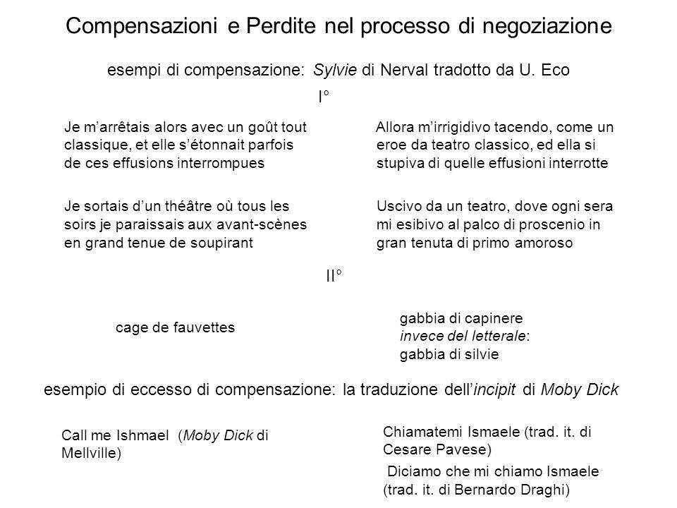 Compensazioni e Perdite nel processo di negoziazione esempi di compensazione: Sylvie di Nerval tradotto da U. Eco
