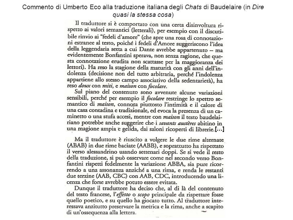 Commento di Umberto Eco alla traduzione italiana degli Chats di Baudelaire (in Dire quasi la stessa cosa)
