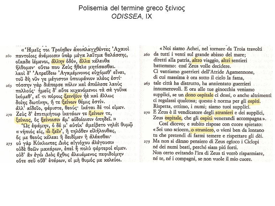 Polisemia del termine greco ξείνιος